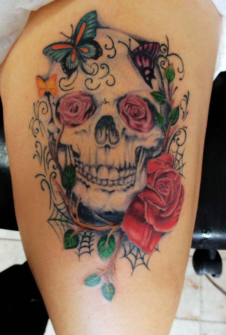 24 best images about skulls and roses tattoos on pinterest for Rose and skull tattoos