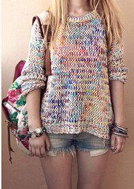 Roomy Rainbow Knit Sweater