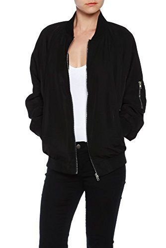 Womens High Quality Classic Zip Up Bomber Jacket with Pockets
