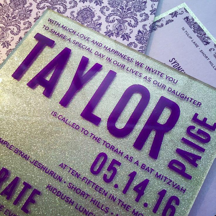 custom invitation, custom bat mitzvah invitation,  glitter invitation, silver invitation, plexiglass invitation, purple invitation, brocade invitation