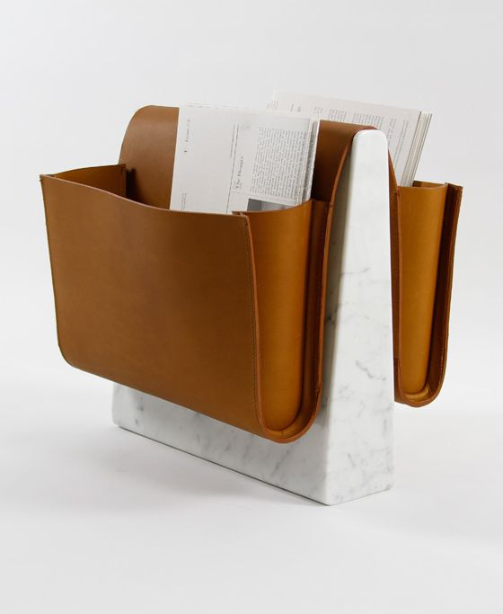 Here is that leather color...again you only need a little in the living room  Easy to make something like this...even out of wood and paint it  Great idea! Saddle magazine rack