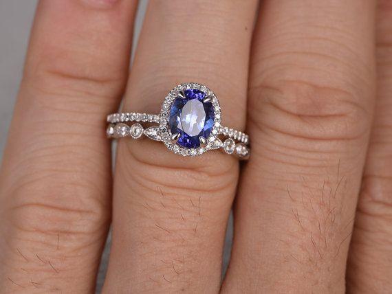 Blauwe Tanzanite Engagement ring met diamanten, 14K & 18K Rose/geel/wit goud beschikbaar, Gemstone meting kan worden gewijzigd. Elke sieraden in mijn