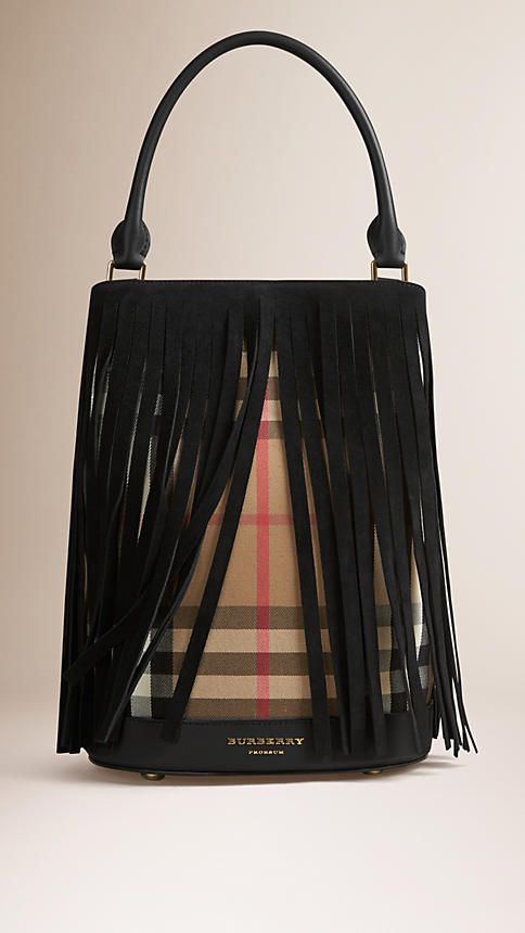 Black The Bucket Bag in House Check And Fringing - Image 1
