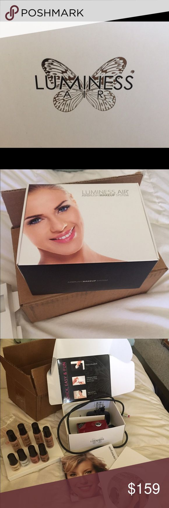 Luminess Air brush makeup! This is the whole package! I did use it to try it, now we have two. Passing great savings to you... includes the luminess airbrush machine, upgraded make-up for medium skin tone. All instructions are in original box. The machine alone is 300$, and the makeup was around 100$ for what I purchased. ( upgraded to silk). Application is easy and FLAWLESS! Fun and quick to use, you can mix for the right color for your foundation! Also comes with blush, bronzer…