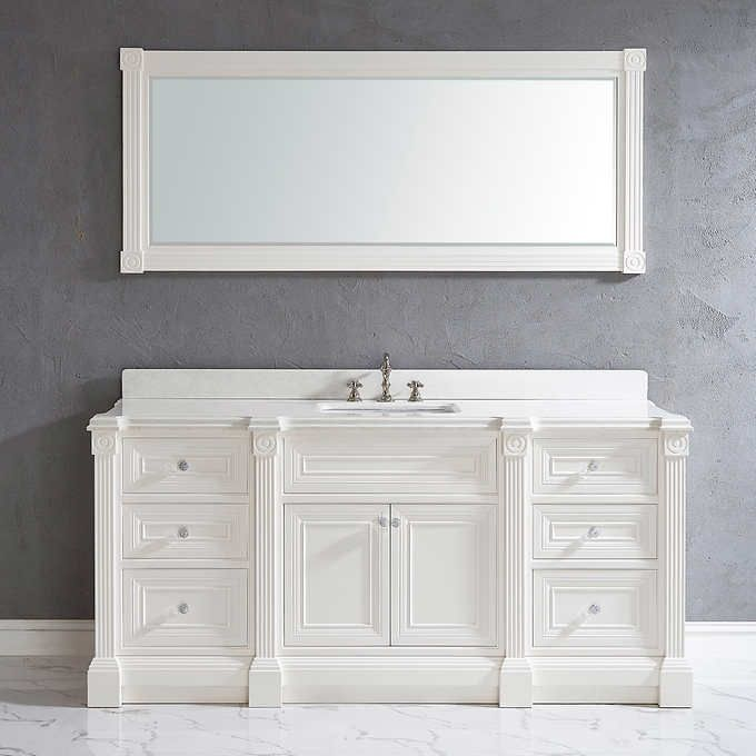 72 Inch White Finish Single Sink Bathroom Vanity Cabinet With Mirror