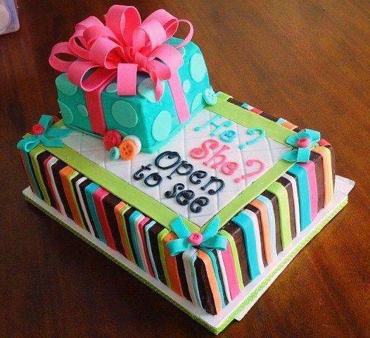 Baby gender reveal cake. (baby shower cake)