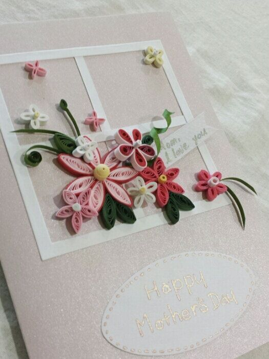 Handmade PInk Flower Mothers Day Card, Mother's Day  Card, Paper quilled flower, paper qulling,quilled paper,quilled card