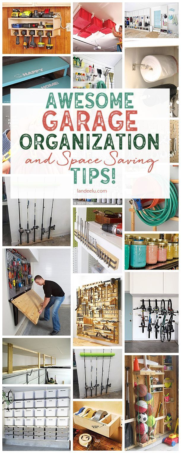 Get your garage under control with these awesome DIY garage organization ideas and space saving tips! So many smart ideas!