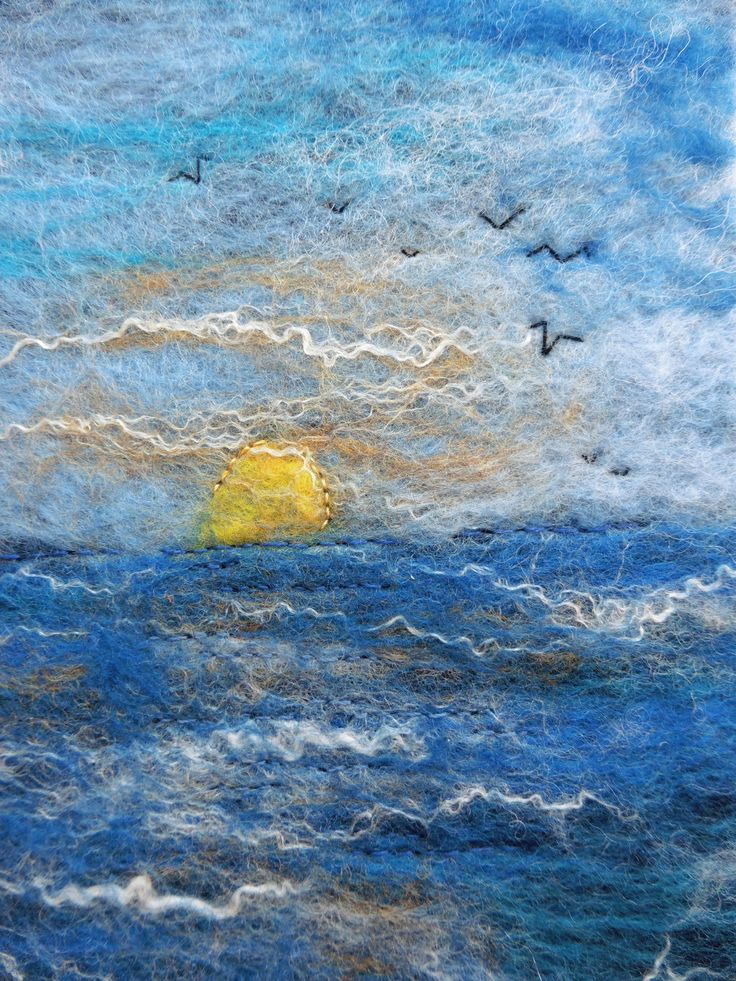 A5 Hand-felted notebook cover: 'Sunset' with hand embroidery, by Deborah Iden.  See more by LittleDeb on Pinterest, Facebook, Folksy and Etsy.