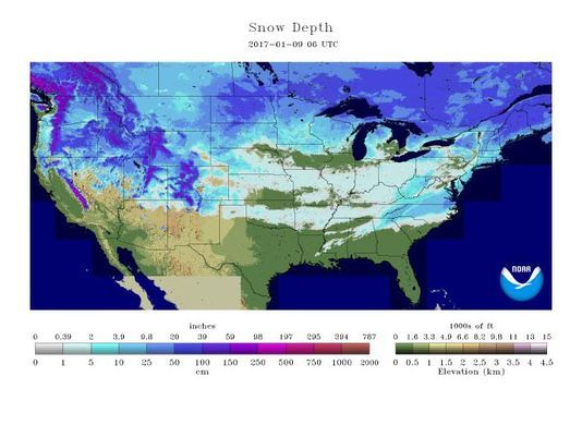 Only Florida is snow free, according to a national snow cover map produced by the National Oceanic and Atmospheric Administration.