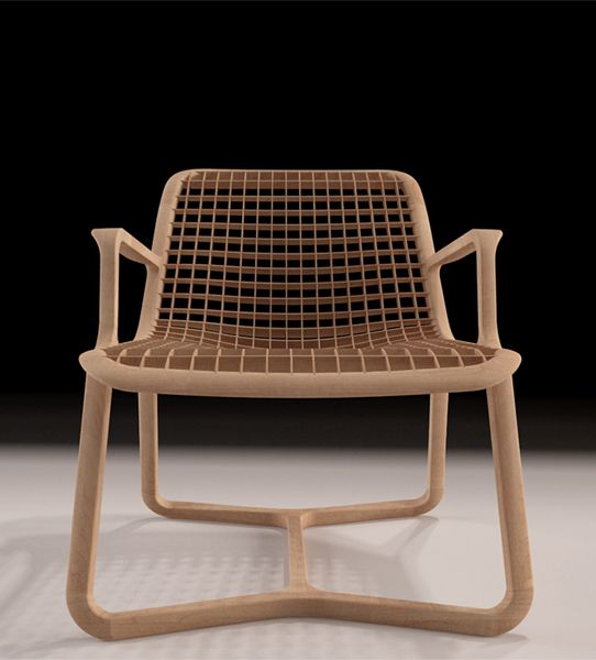 Riza Air lounge chair design by TDT for Thelos in Maple wood.