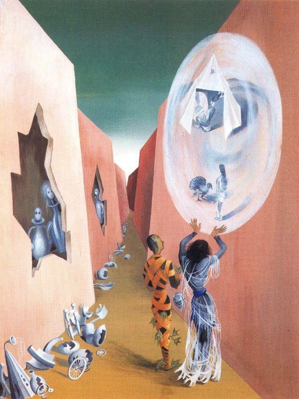 Varo - Gitana y arlequín (1947. Gouache sobre cartulina. 32 x 25 cm)