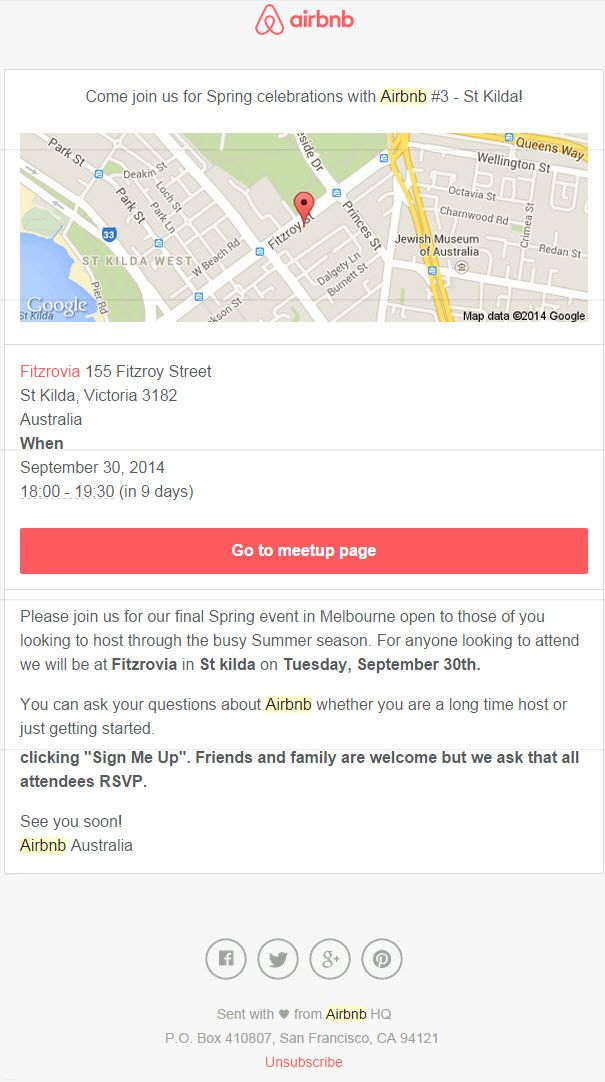 Simple email invite from airbnb
