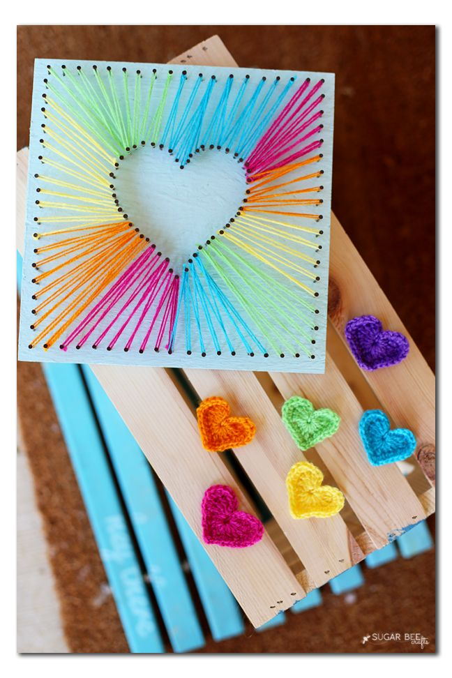 DIY rainbow crocheted hearts and string art tutorial by Michaels Makers Sugarbee Crafts