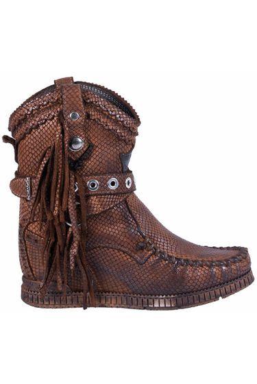 a53573cf535 El Vaquero Wedge Boots Suede Arya Scaled - Cognac
