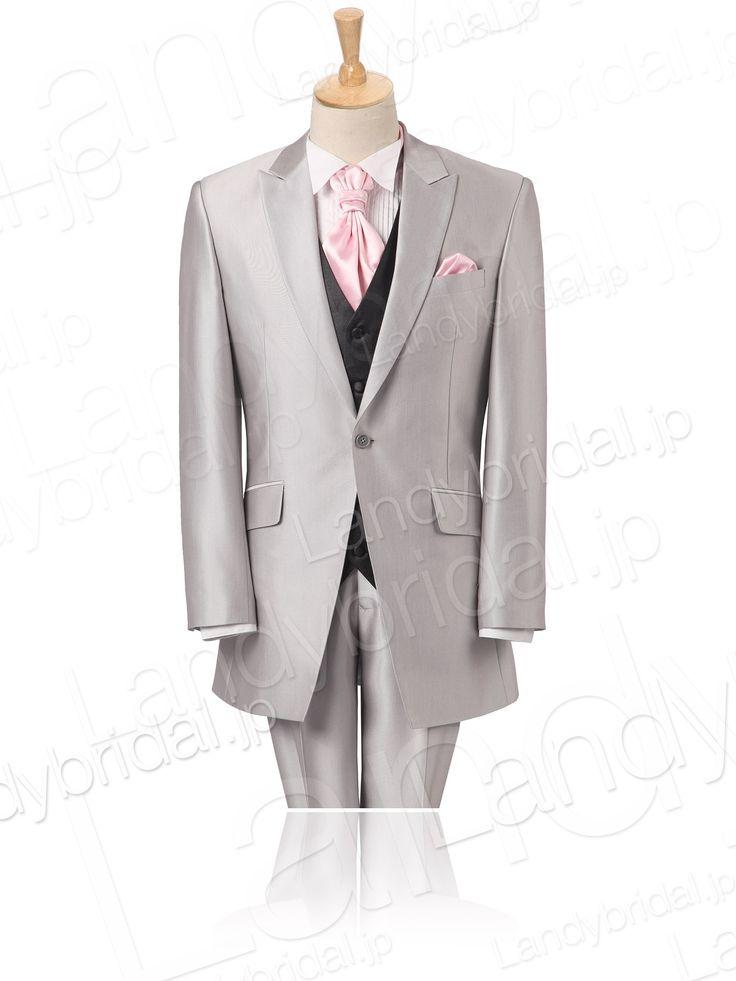 タキシード メンズ フォーマル 結婚式 一つボタン シルバー 光沢ある Mtlbsu0080