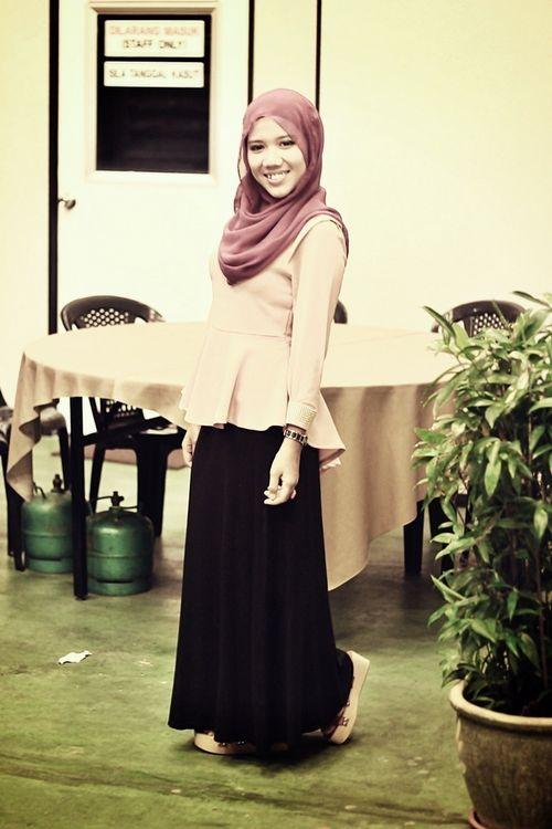 Peplum shirt, long black dress, and hijab = perfect work look