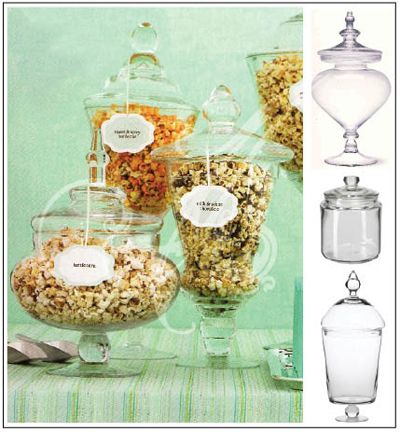Reception Favor Ideas: Provide guests with a popcorn buffet.  Display them in vintage looking candy dishes and containers