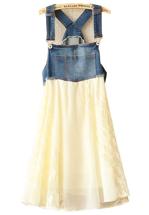 Beige Contrast Denim Strappy Top Chiffon Dress US$40.98