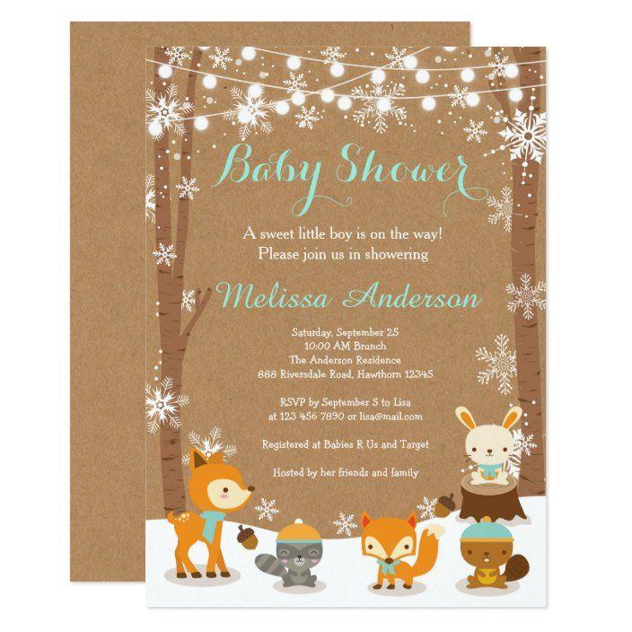 Winter Woodland Baby Shower Invitation Zazzle Com Winter Woodland Baby Shower Woodland Baby Shower Invitations Baby Shower Woodland