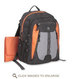 Jeep Sport Backpack Diaper Bag, Black/Orange/Gray
