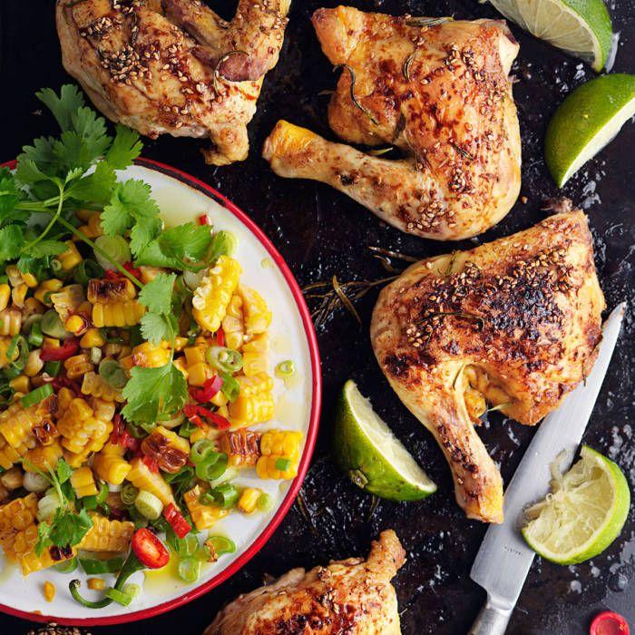 Kyckling med sesamglaze och grillad majssalsa