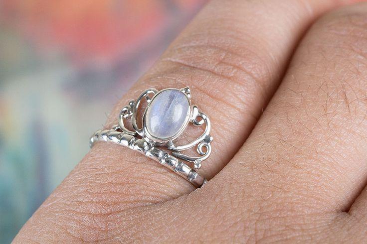 Anelli argentati - Arcobaleno Anello pietra di luna, Moonstone Anello - un prodotto unico di ArtisanJewellery su DaWanda