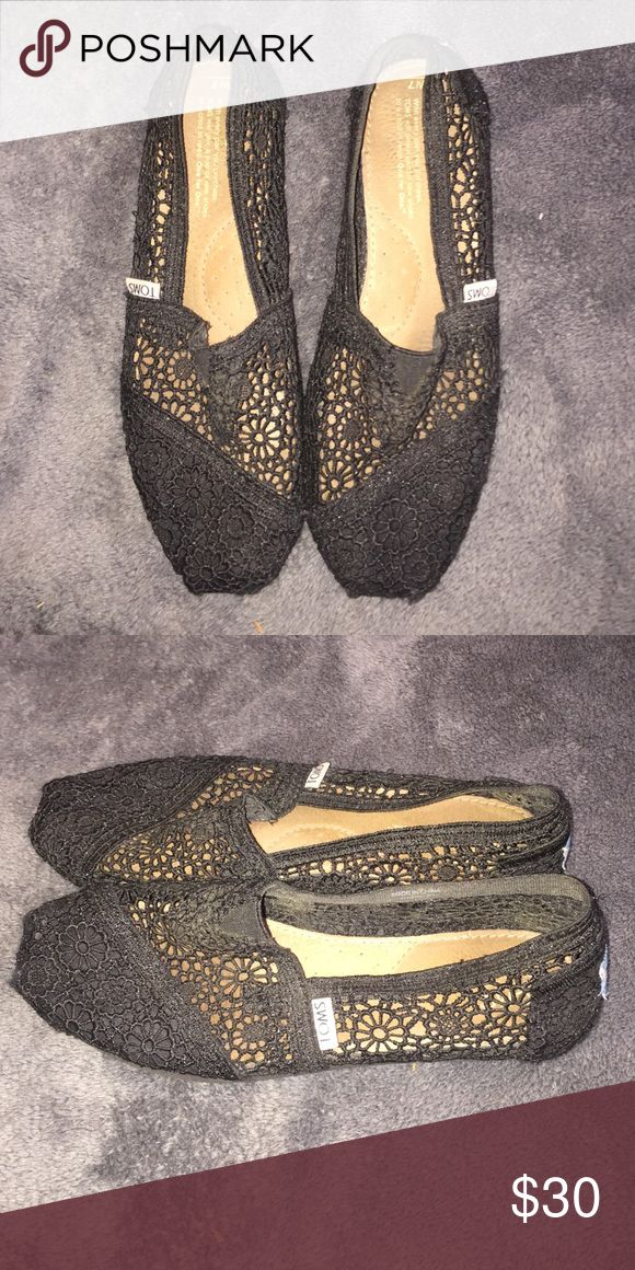 Black crochet Toms Black lace crochet Toms slip-ons. TOMS Shoes Flats & Loafers