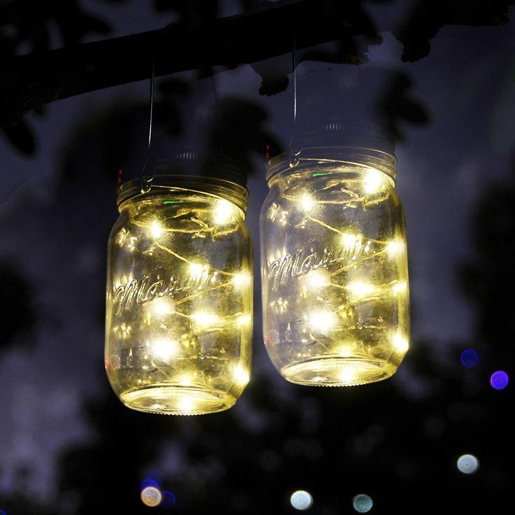 Mason Jar Lights, IThird 3 Pack 10 LED Warm White Solar Fairy Lights Lids  Insert For Garden Deck Patio Party Wedding Christmas Decorative Lighting(Jars  Not ...