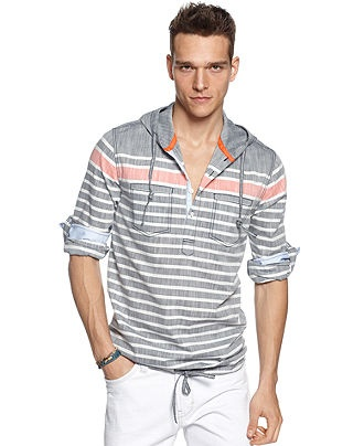 Bar III Shirt, Waimea Slim Fit Hooded Popover - Shirts - Men - Macy's