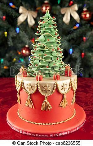 Stock Photo - Christmas fondant cake - stock image, images, royalty free photo, stock photos, stock photograph, stock photographs, picture, pictures, graphic, graphics
