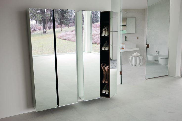 Porada - Grilla mirrored wall mounted shoe storage cabinets