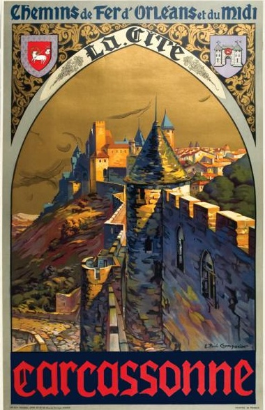 1930s Carcassonne French Rail Travel Poster, £1,100 at Vintage Seekers.