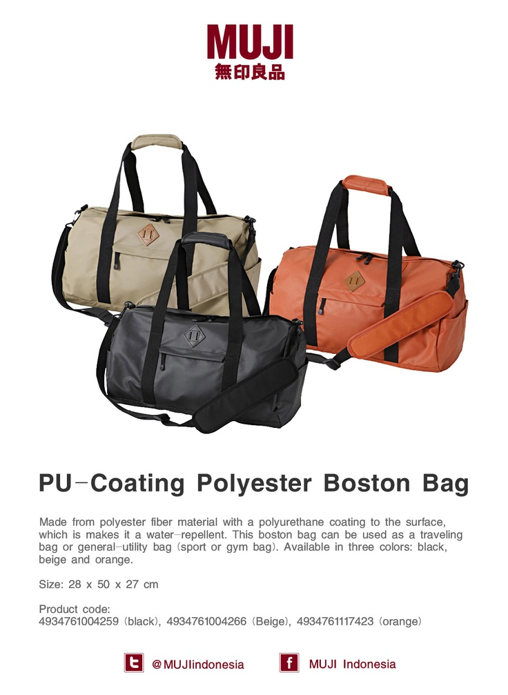 Water-repellent boston bag. Great to use as a traveling bag or general-utility bag and available in 3 colors.