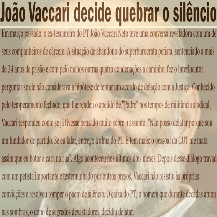 João Vaccari decide quebrar o Silêncio [Revista Veja] ➤ http://veja.abril.com.br/noticia/brasil/joao-vaccari-decide-quebrar-o-silencio ②⓪①⑥ ⓪⑥ ①① #SerPT