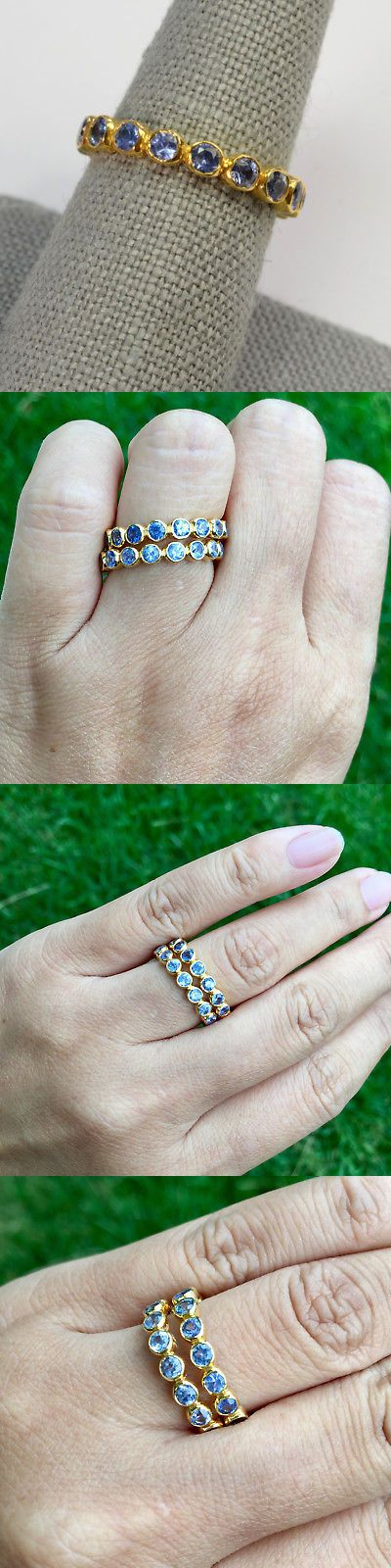 Gemstone 164343: 18K Solid Yellow Gold Natural Blue Sapphire Eternity Ring Size 6 -> BUY IT NOW ONLY: $450 on eBay!