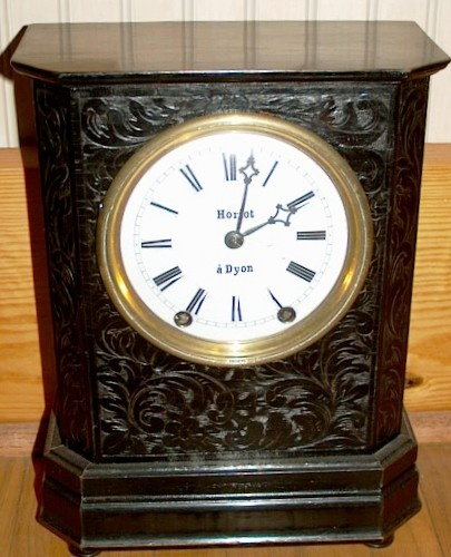 French (Dyon) carved mantel clock 1850