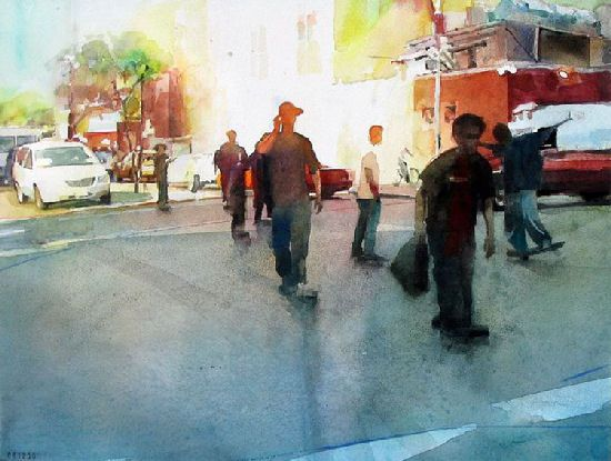 Watercolour cityscapes by Christopher St. Leger