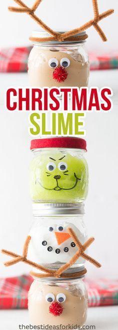 These Christmas Slime Jars are so fun to make as a Christmas craft or to give as a Christmas gift. This slime recipe is no borax and easy for kids to make! #Christmas #diyslime
