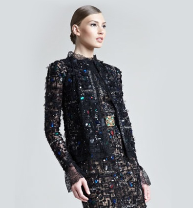 Oscar de la Renta Jeweled Tweed/Lace Jacket on Destination Iman November Issue