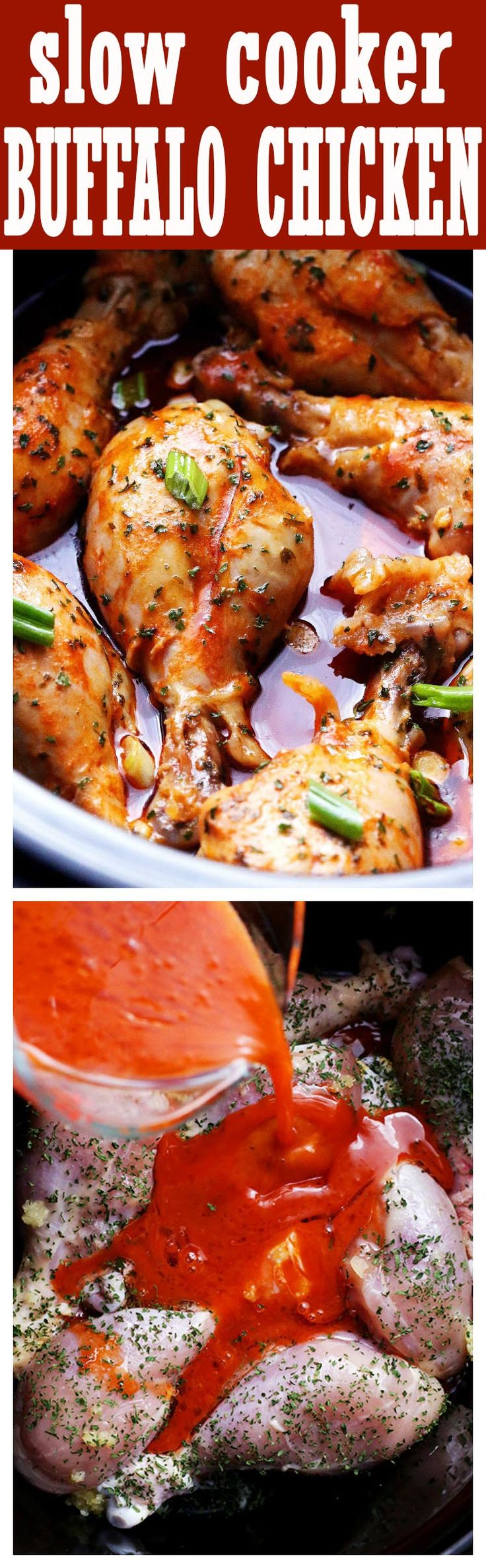 Slow Cooker Buffalo Chicken - Slow cooked, spicy and delicious Buffalo Chicken drumsticks.
