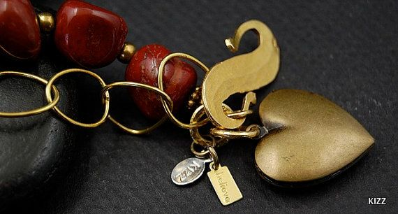 Red Jasper and Brass Chain Bracelet With Heart by kizzdesigns, $45.00 @kizzdesigns