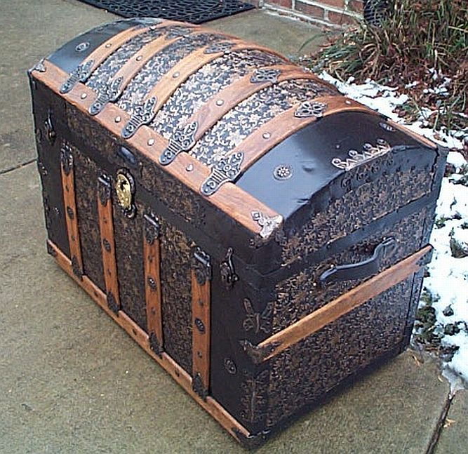 Side View - All Metal Black and Gold Pressed Tin Filigree Design Dometop Fully Restored Antique Trunk For Sale #342