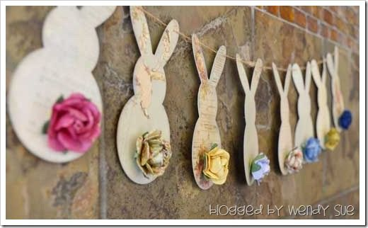 Great spring home decor idea!: Idea, Banners Garlands, Bunnies, Easter Bunny, Easter Spring, Baby Shower