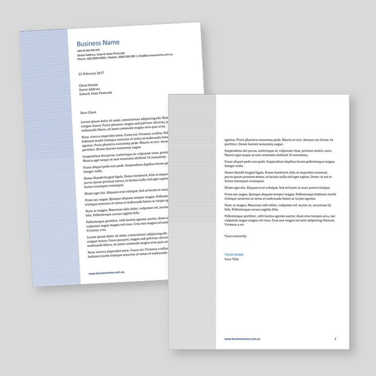 Word letterhead template (with follower page) for sale.