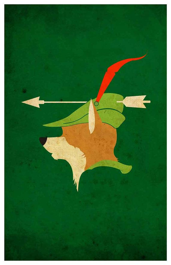 Vintage Disney movie poster - Robin Hood  Poster size: 11 inches x 17 inches  - Printed on high quality, weather resistant, 220g texture card -