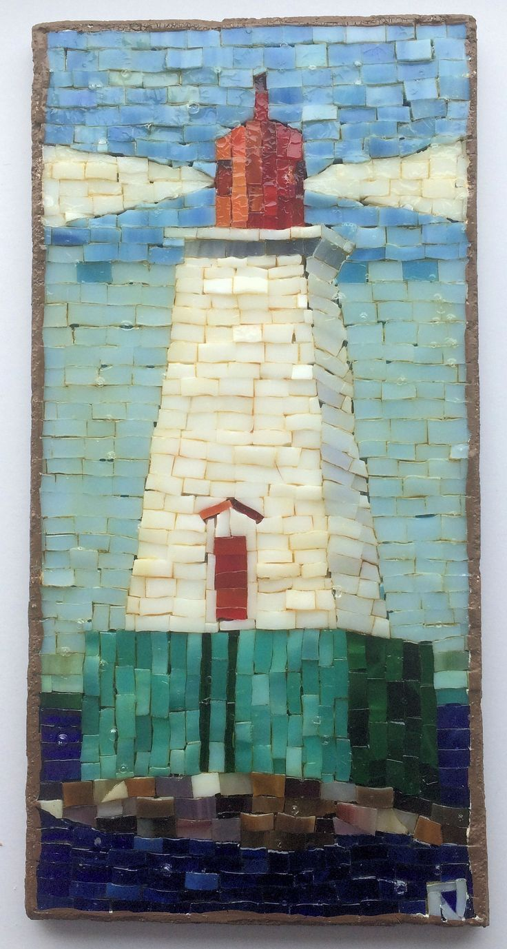 Sandy Point Lighthouse Mosaic 8A1B12 10.5 by LachanceGlassMosaic on Etsy