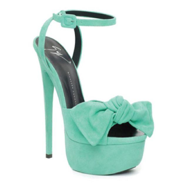 Giuseppe ZanottiShoes, Mint Green, Giuseppe Zanotti, Aqua Blue, Tiffany Blue, Bows, Christian Louboutin, Mint Colors, Teal High Heels