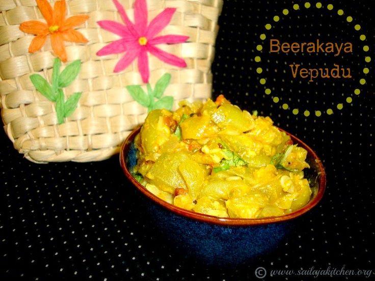 Sailaja Kitchen...A site for all food lovers!: Beerakaya Fry Recipe / Beerakaya Nuvvu Koora Recipe / Ridge Gourd Sesame Stir Fry / Beerakaya Vepudu / Peerkangai Fry