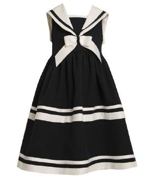 Bonnie jean girls 7 12 navy white stripe sailor nautical sleeveless
